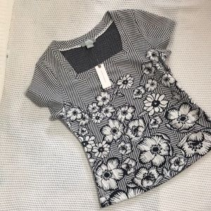 Anthropologie Maeve black and white floral top